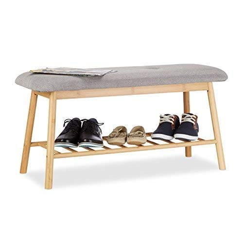 Relaxdays Schuhbank Bambus für 2 Personen, Polsterbank mit Schuhablage für 4 Paar Schuhe, bequeme Sitzbank, natur-grau