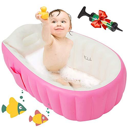 Maydolly Baignoire gonflable antidérapante et pliable pour bébé de 0 à 3 ans + pompe à air Rose