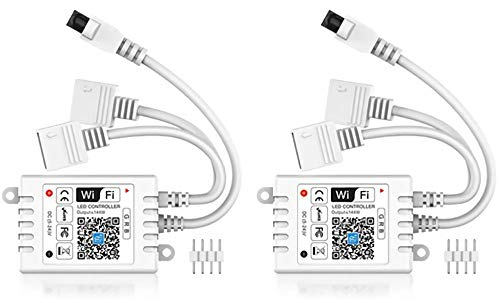 2-in-1 WiFi LED Smart Controller, Compatible with Alexa&Google Assistant&IFTTT, Working with Android, iOS System and RGB LED Strip Lights, Comes with 24 Keys Remote Control-2