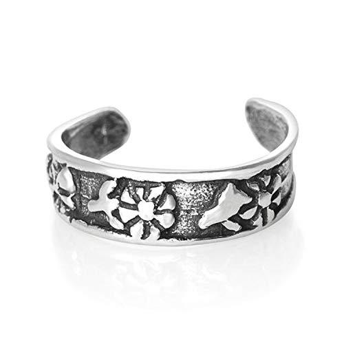 Flor de plata de ley anillo del dedo del pie - bastante anillos del dedo del pie