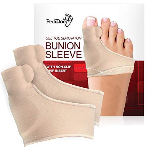 PediDoc Bunion Corrector – Bunion Relief Sleeves Bunion Pads Brace Cushions Toe Straightener with Gel Toe Separator, Spacer, Straightener and Spreader – Hallux Valgus Relief Big Toe Alignment