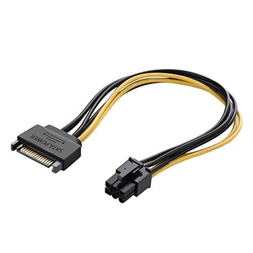 WT&T WTT Accessories 20 cm SATA 15-polig auf 6-polig PCI Express Grafikkarte Sata Stromkabel