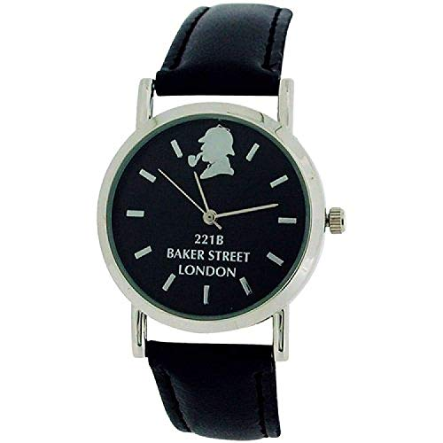 The Sherlock Holmes Baker Street Gents Black Dial Black PU Strap Watch BAK01A