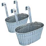 Selldorado® 2 macetas para colgar – Maceta colgante balcón con asa – Maceta para balcón de metal – Maceta para hierbas en aspecto vintage Shabby Chic 23 x 11 x 25 cm (2 ovalados azules)