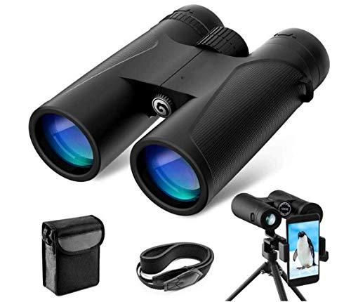 GWFVA BOC Hd 10X42 Fernglas Kleines Fernglas Vogelbeobachtung für Erwachsene Wandern Wasserdichtes Bak4 Prisma Fmc Objektiv mit Stativ-Umhängeband und Tragetasche, A, Teleskop