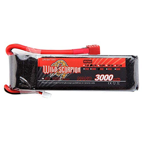 WANGYOUCAO Wild Scorpion Lipo Batería 11.1V 3000mAh 35C MAX 45C 3S T Enchufe para RC Coche Avión T-Rex 450 Pieza de helicóptero