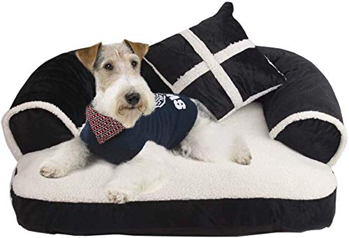 AFDK Cozy Dog Sofa Cat Boster Lounger Couch Joint-Relief and Improved Sleep Pet Mattress with Removable Washable Cover+Pillow Gift, Black, M,Black,Large