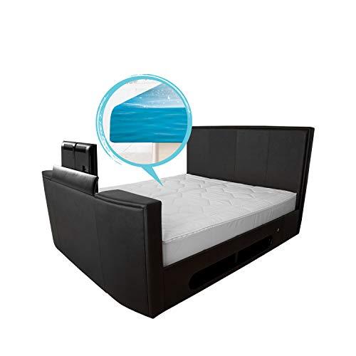 bellvita WASSERBETTEN mit Echtleder-Bettrahmen und versenkbarem Flat-TV inkl. Lieferung und Aufbau durch Fachpersonal (200 x 220 cm, schwarz)