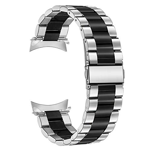 Galaxy Watch 46mm Watchband,TRUMiRR 22mm Solid Metal Stainless Steel Zero Gap Strap Watch Band Replacement Bracelet Wristband for Samsung Galaxy Watch 46mm, Gear S3 Frontier/Classic, Silver Black