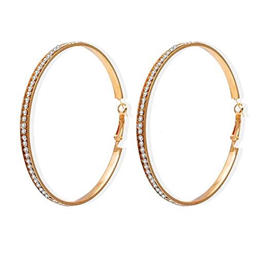 FEARRIN Pendientes de joyería exagerar grandes pendientes de aro para las mujeres oro plata Color círculo oído Clip simple redondo Loop Pendientes joyería LNI1525-3