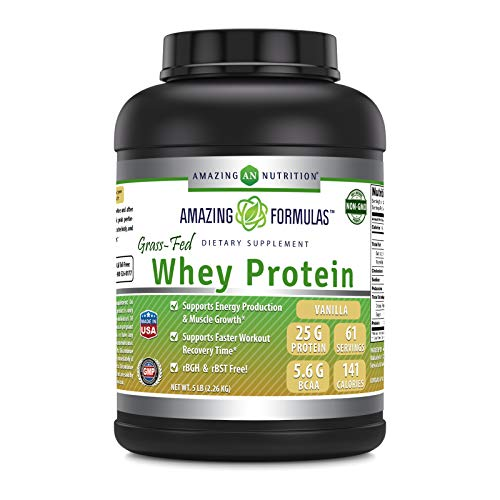 Amazing Formulas - Grass FED Whey Protein 5 Lbs Made with Natural Sweetener and Flavor - rBGH & RBST Free -Supports Energy Production & Muscle Growth (5 LB, Vanilla)