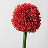 artplants.de Set 3 x Rama de Allium Artificial, Rojo, 65cm, Ø 10cm - 3 Unidades de Flor Artificial - Flor de puerro Decorativa