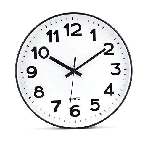 Tebery No de tickende Modern Reloj de Pared DIY para salón Oficina de Cocina (30 cm, Color Blanco)