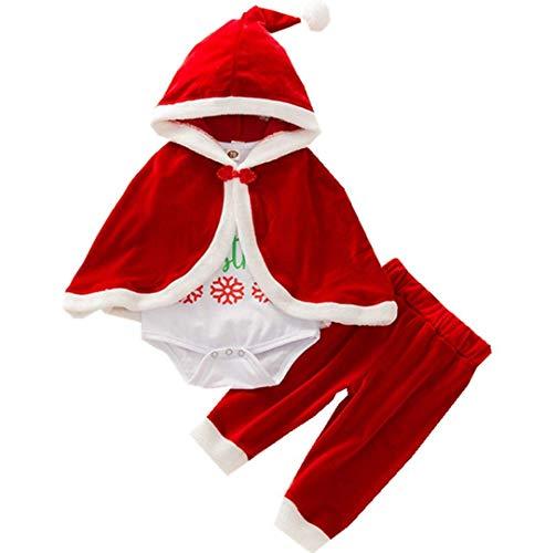Costume di Natale per Bambino Bambina Vestito Pagliaccetto Completo Tutina in Velluto Morbido Caldo Abito per Festa Natale Capodanno 0-4 Anni (Completo 3 Pezzi (con Mantello), 18-24 Mesi)
