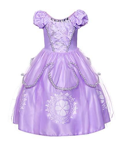JerrisApparel Girls Princess Costume Floor Length Christmas Party Dress up (5, Lilac)