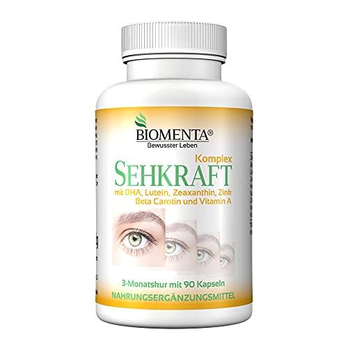BIOMENTA VITAMINE OCCHI   con beta carotene, luteina, zeaxantina, DHA (Omega-3), vitamine A, B2, C e zinco   90 capsule per gli occhi   Trattamento di 3 mesi