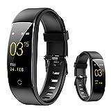 Smartwatch,Reloj Inteligente Con Pulsómetro,Cronómetros,Calorías,Monitor De Sueño,Podómetro Pulsera Actividad Inteligente Impermeable IP67 Smartwatch Hombre Reloj Deportivo Para Android Ios,Negro