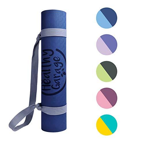 Yoga MAT Multiusos. Esterilla yoga y pilates antideslizante. Colchoneta para ejercicios fitness, gimnasia y deportes. Alfombra ecológica resistente para entrenar en casa o gimnasio (Azul/AzulClaro)