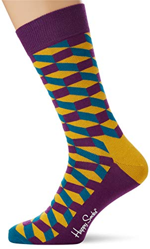 Happy Socks Filled Optic Sock Calze, Multicolore (Multicolour 670), 7/10 (Taglia Produttore: 41-46) Uomo