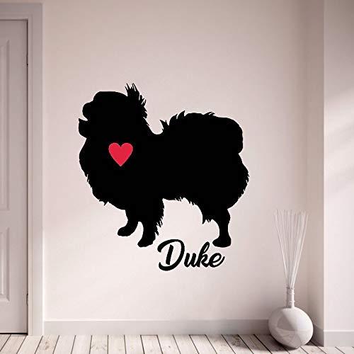 HGFDHG Calcomanía de Pared de Barbilla Japonesa, Pegatina de Vinilo con Nombre de tu Perro, Nombre Personalizado, Perro con corazón Rojo, Tienda de Mascotas, decoración de Interiores