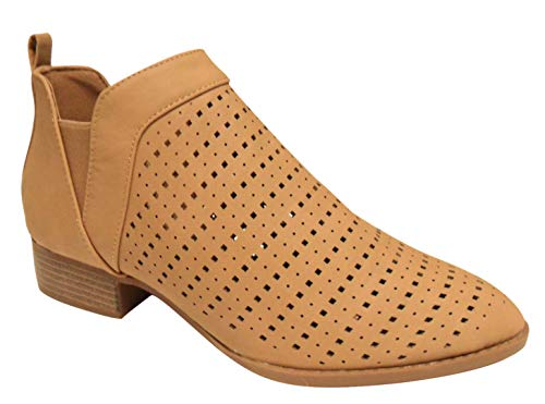 TravelNut Best Tan Daily Shoes Womens Mesh Ankle Elastic Panel Booties Boots Size 8.5 Chunky Heel Beige Cutout Casual Low Heeled Perforated Walking Flats Booty Everday Flat Shoes for Women Teen Girl's Ladies (Tan Size 8.5)