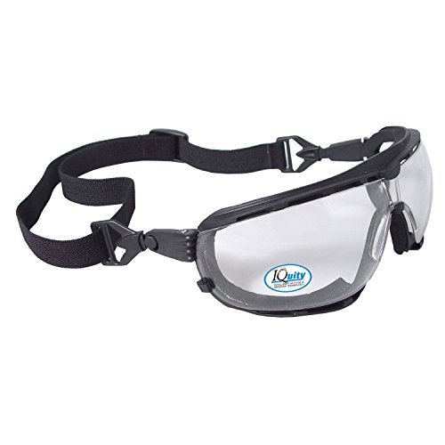 Radians DG1-13 Dagger Iquity Anti-Fog Foam Lined Safety Goggle with Snap-in Temples or Strap, Clear, Iquity Clear Anti-Fog, One Size
