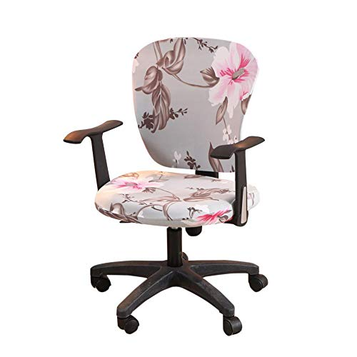 wonderfulwu Stretch Chair Covers Spandex Office Computer Chair Cover Removable Washable Rotate Swivel Chair Protective Covers (Hibiscus)