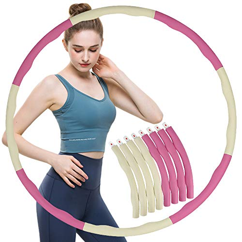 ZoneYan Hula Hoop Fitness Erwachsene Indoor, Hula Hoop Reifen Erwachsene Abnehmen, Beschwerter Fitness Hoop Reifen für Fitness, Weicher Hula Hoop, Massieren Sie den Hula Hoop (Weiß Pink)