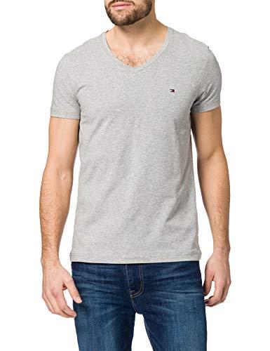 Tommy Hilfiger Herren Stretch Slim FIT Vneck Tee T-Shirt, Medium Grey Heather, 56