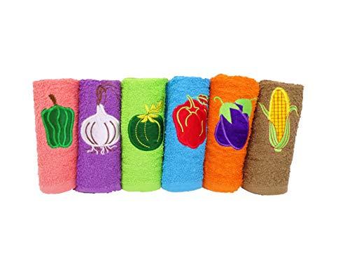 BRICORECHE Pack de 6 paños de Cocina con Frutas Bordadas, u hortalizas Bordadas, 100% Rizo de algodón, 50x50cm
