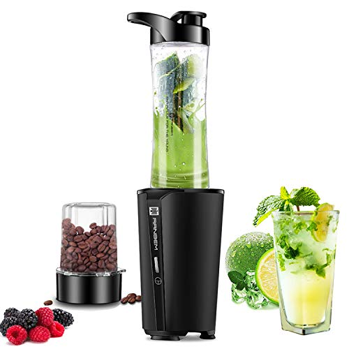 Bullet Blender for smoothies and shakes,blender for kitchen with 20oz Blender Bottle and Lid, 6oz Grinding Coffee/Spices Cup, Single Sever Blender Black 300W