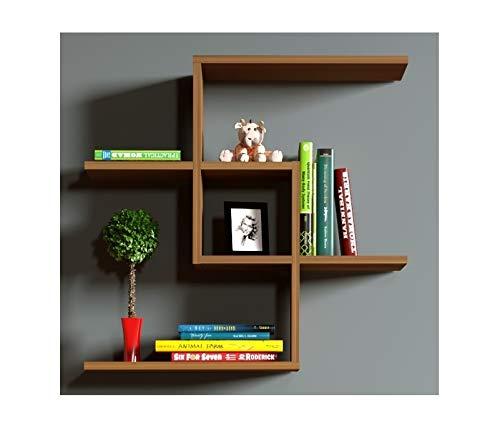 CHAIN Mensola da muro - Mensola Parete - Mensola Libreria - Scaffale pensile per studio / soggiorno in Design moderno (Noce)