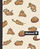 CUADERNO ESCOLAR: Bonito cuaderno de hoja cuadriculada DIAMOND |  Tamaño especial para la mochila o cartera del colegio  | 120 páginas de cuadrícula de Papel de alta calidad | Lindo diseño de gatos.