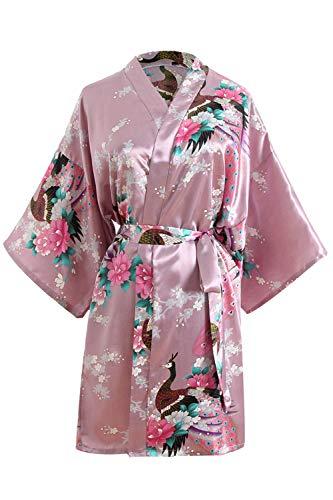 OLESILK Damen Kurz Morgenmantel Satin Kimono Morgenrock Kurzarm Robe Bademantel mit Gürtel V-Ausschnitt Nachtwäsche Negligee mit Pfau und Blumen Muster, Lotos