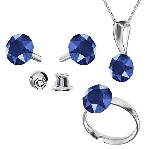 Juego de joyas de plata de ley 925 con cristales de Swarovski Xirius, color azul real, pendientes de aro ajustable, collar con colgante, joya con caja de regalo