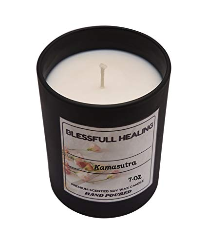 Blessfull Healing 100% Vegan Fragrance Kamasutra 100% Cera di Soia Candela Profumata 7 Oz Vaso di Vetro Nero Opaco Senza Coperchio Aromaterapia a Bruciatura Lunga Candela Regalo di Natale