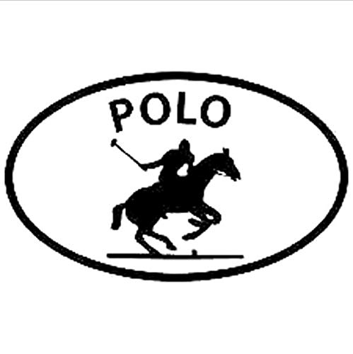 Zybnb 16Cm*9.8Cm Polo Paard Sport Ovaal Auto Venster Sticker Decals Motorfiets Auto Styling Accessoires in Zwart Wit -3Stks