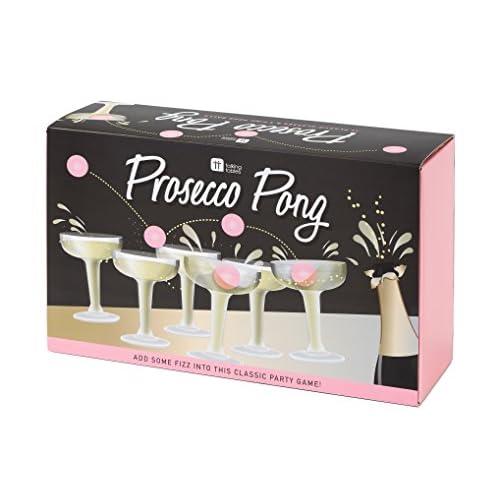 Talking Tables PROSE, Classico Gioco, 12 calici per Prosecco in plastica e 3 Palline da Ping Pong Rosa, Ideale per Compleanni, Cerimonie, Feste