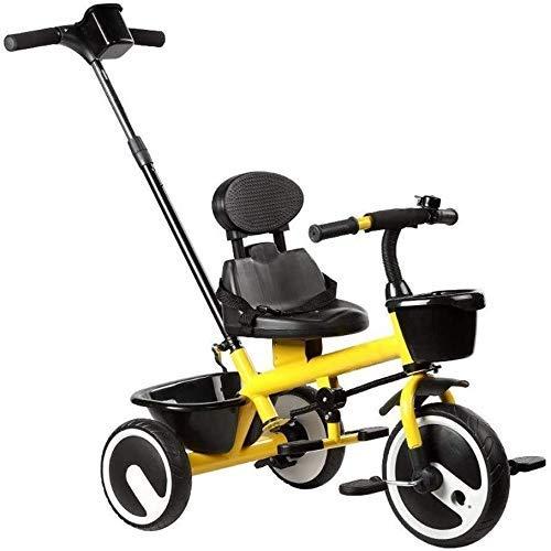DYB Bicicleta de Pedales, Triciclo para niños 1/3/2/6 años Cochecito Ligero para niños Cochecito Placa de pie retráctil Asiento de Seguridad Cesta de Almacenamiento Pedales de pie (Color: Rojo)