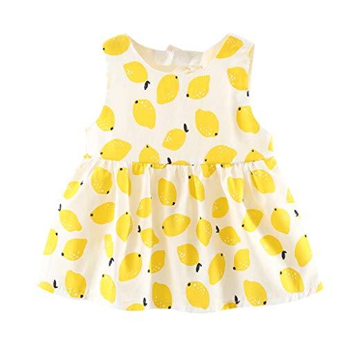 Generic JERFER Dirndl Baby Infant ärmellose Früchte Zitrone Print Bow Princess Dress Kleidung