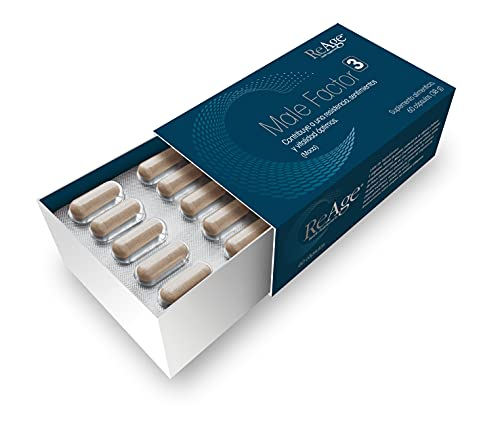 Male Factor 3 para los hombres | Potenciador de testosterona y libido 100% natural | RAÍZ DE MACA - ZINC - SELENIO | 60 Cápsulas | Fabricado en Holanda por ReAge®