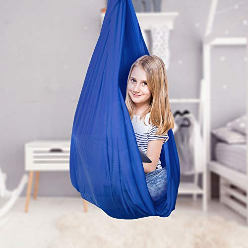 Therapy Swing for Kids with Special Needs, Breathable Silk Swing & Hammock, Indoor Physical Swing for Children, Cuddle Hammock for Autism, ADHD, Asperger's Syndrome, Up to 440 lbs (200 kg) (Blue)