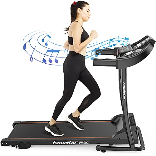Famistar W500C Treadmills for Home, 3 Levels Incline Electric Treadmill Workout, Running Machine Home Treadmills for Running with Led Display, Built-in Mp3 Speaker, 12+3 Modes Fits All Family