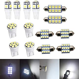 14X White LED Light Interior Package Kit Fit for T10 & 31mm Map Dome + License Plate
