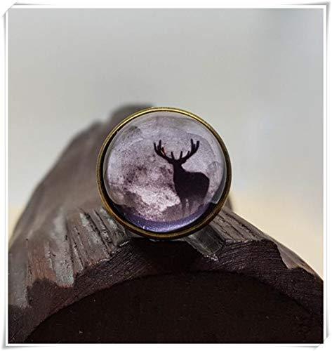 Leonid Meteor - Anillo de Ducha con diseño de Reno, Color Blanco y Negro, joyería única Ajustable, joyería de Cristal de cúpula, Hecho a Mano