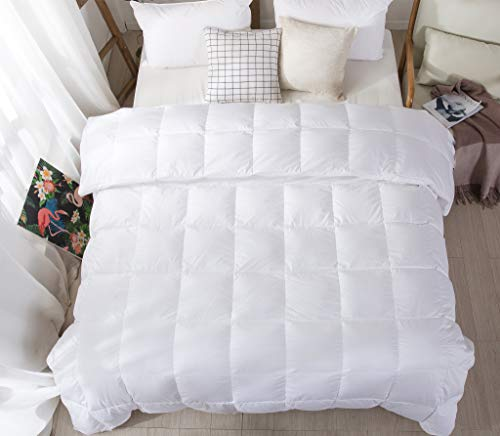 Confibona Lightweight 100% Natural White Goose Down Blanket Comforter for Summer Warm Weather,750Fill Power, Machine Washable,Super Soft Cotton Shell with No Soud,White, California/Oversized King Size