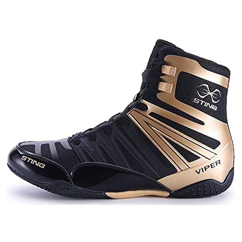 WJFGGXHK Zapatos de lucha para hombre, alta parte superior de boxeo, entrenadores de goma suela boxeadores calzado transpirable botas de escalada, Gold, 42.5 EU
