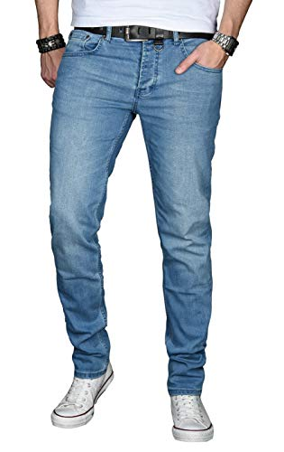 A. Salvarini Designer Herren Jeans Hose Basic Stretch Jeanshose Regular Slim [AS026 - Hellblau - W33 L32]