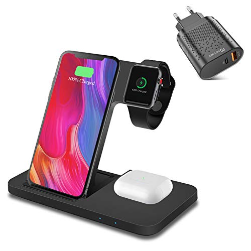 3 en 1 Cargador Inalámbrico Wireless Charger, Fast Qi 15W Base de Carga Compatible con iWatch Series, AirPods Pro, iPhone 12/12 Pro MAX / 12 Mini / 11/11 Pro MAX / 8 Plus, Samsung Galaxy