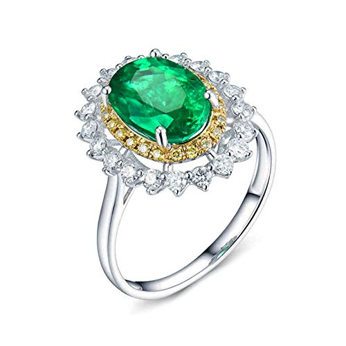 Amody Anillo de Oro Mujer 18 K, Anillos para Boda Flor 1.93CT Ovalada Esmeralda 0.81ct Diamante Tamaño 18,5